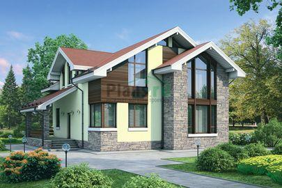 Проект дома с мансардой 12x12 метров, общей площадью 162 м2, из газобетона (пеноблоков), со вторым светом, c террасой, котельной и кухней-столовой
