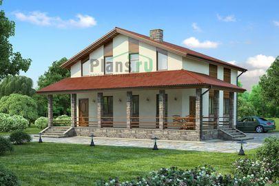 Проект дома с мансардой 12x12 метров, общей площадью 162 м2, из кирпича, c террасой, котельной и кухней-столовой