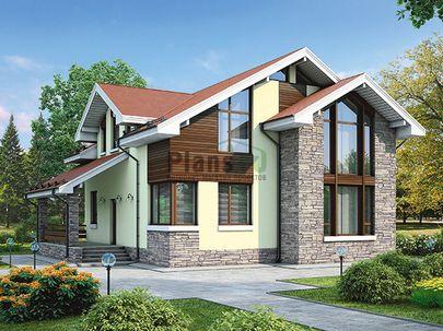 Проект дома с мансардой 12x12 метров, общей площадью 164 м2, из газобетона (пеноблоков), c террасой, котельной и кухней-столовой