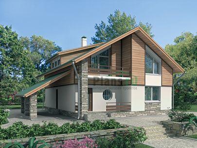 Проект дома с мансардой 12x12 метров, общей площадью 180 м2, из газобетона (пеноблоков), c террасой, котельной и кухней-столовой