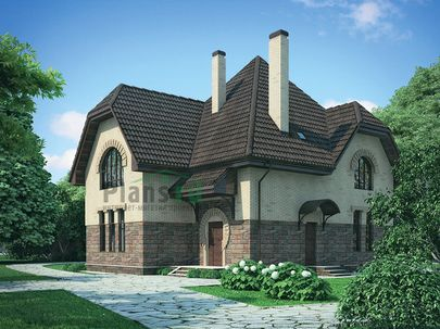 Проект дома с мансардой 12x12 метров, общей площадью 180 м2, из керамических блоков, c террасой и котельной