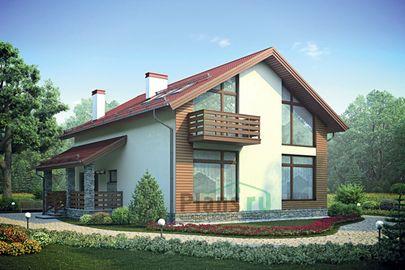 Проект дома с мансардой 12x12 метров, общей площадью 181 м2, из газобетона (пеноблоков), c зимним садом, террасой и кухней-столовой