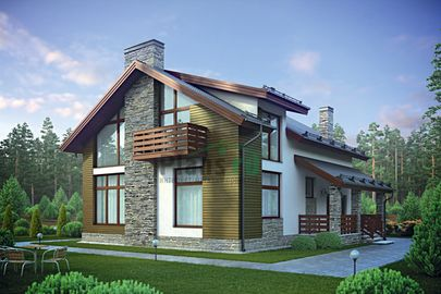Проект дома с мансардой 12x12 метров, общей площадью 181 м2, из керамических блоков, c зимним садом, террасой и котельной