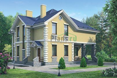 Проект дома с мансардой 12x12 метров, общей площадью 195 м2, из кирпича, c террасой, котельной и кухней-столовой