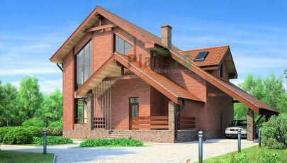 Проект дома с мансардой 12x12 метров, общей площадью 210 м2, из керамических блоков, c террасой, котельной и кухней-столовой