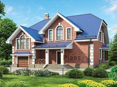 Проект дома с мансардой 12x12 метров, общей площадью 223 м2, из керамических блоков, c гаражом, террасой и кухней-столовой