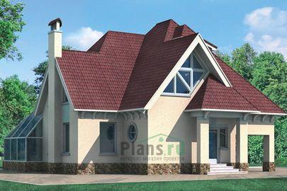 Проект дома с мансардой 12x12 метров, общей площадью 225 м2, из газобетона (пеноблоков), со вторым светом, c зимним садом, котельной и кухней-столовой