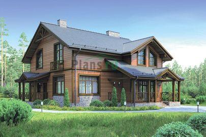 Проект дома с мансардой 12x13 метров, общей площадью 189 м2, из кирпича, c террасой, котельной и кухней-столовой