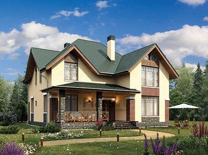 Проект дома с мансардой 12x14 метров, общей площадью 165 м2, из керамических блоков, c террасой, котельной и кухней-столовой