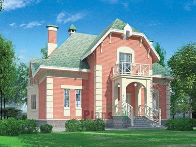 Проект дома с мансардой 12x14 метров, общей площадью 237 м2, из газобетона (пеноблоков), c террасой и кухней-столовой