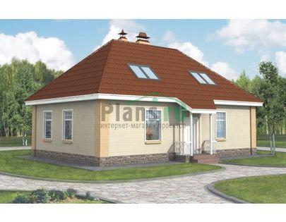 Проект дома с мансардой 12x7 метров, общей площадью 131 м2, из газобетона (пеноблоков), c бассейном и котельной