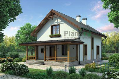 Проект дома с мансардой 12x8 метров, общей площадью 114 м2, из газобетона (пеноблоков), c террасой, котельной и кухней-столовой