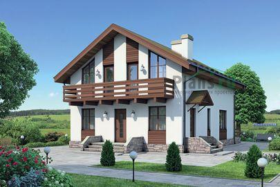 Проект дома с мансардой 12x8 метров, общей площадью 130 м2, из кирпича, c террасой и котельной