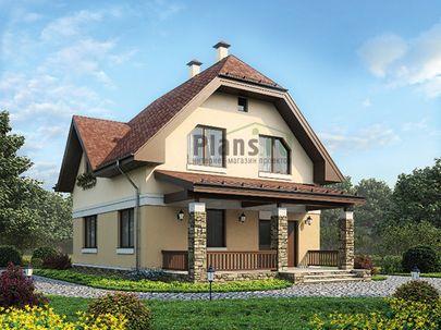 Проект дома с мансардой 12x8 метров, общей площадью 132 м2, из газобетона (пеноблоков), c террасой, котельной и кухней-столовой
