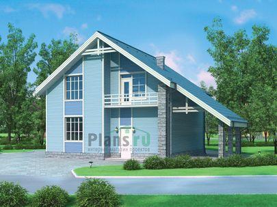Проект дома с мансардой 12x9 метров, общей площадью 103 м2, из керамических блоков, со вторым светом, c котельной и кухней-столовой
