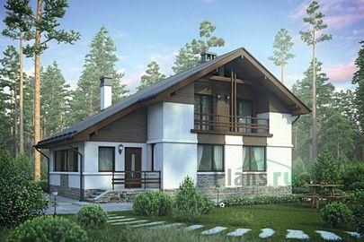 Проект дома с мансардой 12x9 метров, общей площадью 139 м2, из кирпича, c котельной и лоджией