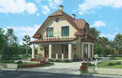 Проект дома с мансардой 12x9 метров, общей площадью 140 м2, из газобетона (пеноблоков), c террасой, котельной и кухней-столовой
