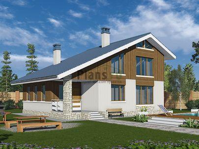 Проект дома с мансардой 12x9 метров, общей площадью 140 м2, из кирпича, c террасой, котельной и кухней-столовой
