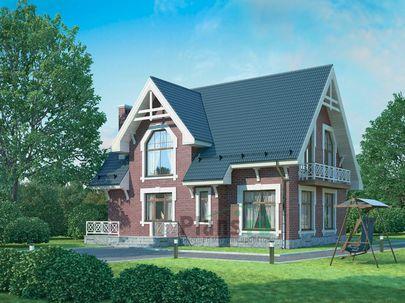 Проект дома с мансардой 12x9 метров, общей площадью 149 м2, из керамических блоков, c террасой, котельной и кухней-столовой