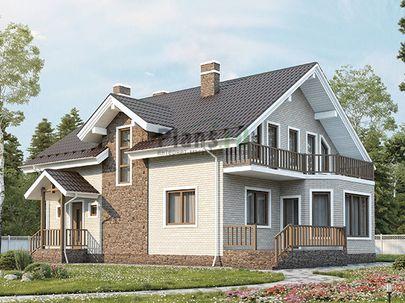 Проект дома с мансардой 12x9 метров, общей площадью 153 м2, из газобетона (пеноблоков), c террасой, котельной и кухней-столовой
