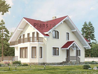 Проект дома с мансардой 12x9 метров, общей площадью 153 м2, из керамических блоков, c террасой, котельной и кухней-столовой