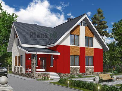 Проект дома с мансардой 12x9 метров, общей площадью 158 м2, из кирпича, c террасой, котельной и кухней-столовой