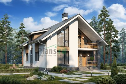 Проект дома с мансардой 12x9 метров, общей площадью 170 м2, из газобетона (пеноблоков), c террасой, котельной и кухней-столовой