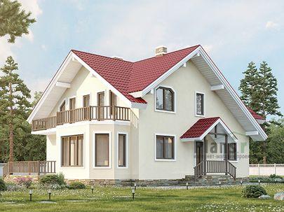 Проект дома с мансардой 12x9 метров, общей площадью 182 м2, из газобетона (пеноблоков), c гаражом, террасой и котельной