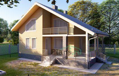 Проект дома с мансардой 13x10 метров, общей площадью 101 м2, из кирпича, c террасой, котельной и кухней-столовой
