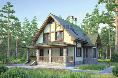 Проект дома с мансардой 13x10 метров, общей площадью 140 м2, из кирпича, c террасой и котельной