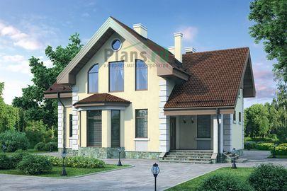 Проект дома с мансардой 13x10 метров, общей площадью 146 м2, из газобетона (пеноблоков), c котельной