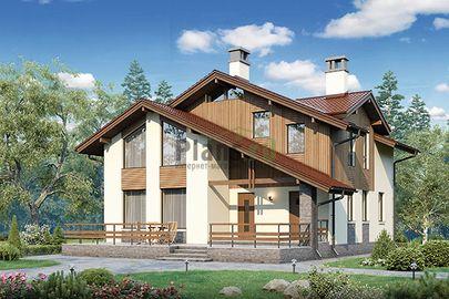 Проект дома с мансардой 13x10 метров, общей площадью 152 м2, из газобетона (пеноблоков), c террасой и котельной