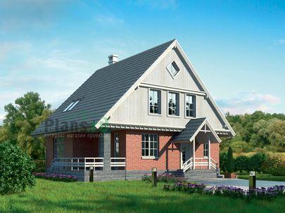 Проект дома с мансардой 13x10 метров, общей площадью 152 м2, из кирпича, c террасой и котельной