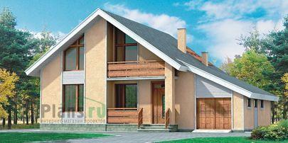 Проект дома с мансардой 13x10 метров, общей площадью 178 м2, из газобетона (пеноблоков), со вторым светом, c гаражом, террасой, котельной и кухней-столовой