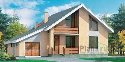 Проект дома с мансардой 13x10 метров, общей площадью 178 м2, из кирпича, со вторым светом, c гаражом, террасой, котельной и кухней-столовой
