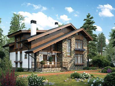 Проект дома с мансардой 13x10 метров, общей площадью 188 м2, из газобетона (пеноблоков), c террасой, котельной и кухней-столовой
