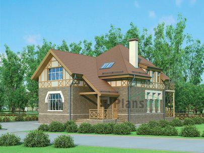 Проект дома с мансардой 13x10 метров, общей площадью 189 м2, из кирпича, c котельной и кухней-столовой