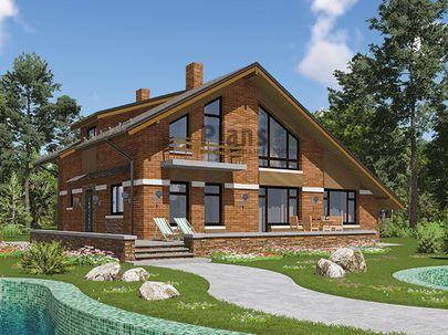 Проект дома с мансардой 13x10 метров, общей площадью 192 м2, из газобетона (пеноблоков), c гаражом, террасой, котельной и кухней-столовой