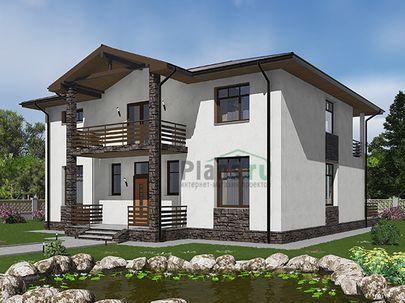 Проект дома с мансардой 13x10 метров, общей площадью 218 м2, из газобетона (пеноблоков), c террасой, котельной и кухней-столовой