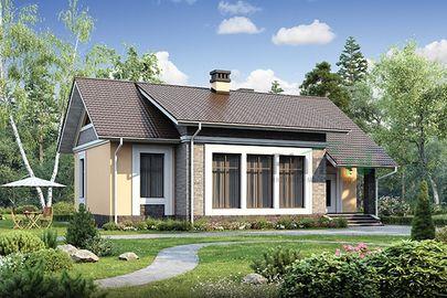 Проект дома с мансардой 13x10 метров, общей площадью 98 м2, из газобетона (пеноблоков), c котельной