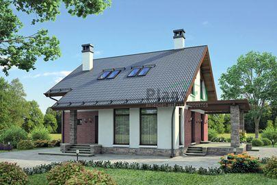 Проект дома с мансардой 13x11 метров, общей площадью 146 м2, из кирпича, c террасой и котельной