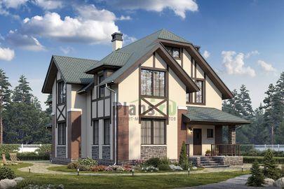 Проект дома с мансардой 13x11 метров, общей площадью 182 м2, из кирпича, c террасой, котельной и кухней-столовой