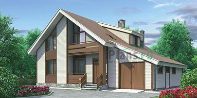 Проект дома с мансардой 13x11 метров, общей площадью 183 м2, из кирпича, c гаражом, террасой, котельной и кухней-столовой