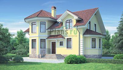 Проект дома с мансардой 13x11 метров, общей площадью 186 м2, из газобетона (пеноблоков), c котельной и кухней-столовой
