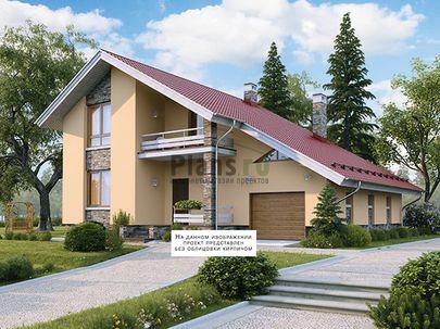 Проект дома с мансардой 13x11 метров, общей площадью 187 м2, из керамических блоков, c гаражом, террасой, котельной и кухней-столовой