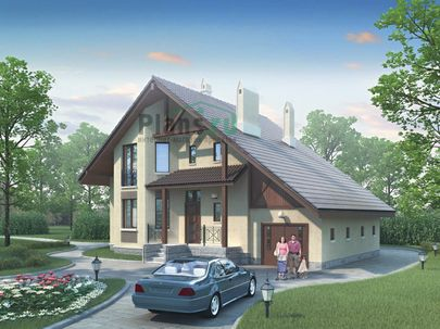 Проект дома с мансардой 13x11 метров, общей площадью 210 м2, из керамических блоков, со вторым светом, c гаражом и зимним садом
