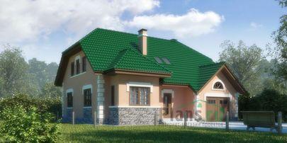 Проект дома с мансардой 13x11 метров, общей площадью 220 м2, из газобетона (пеноблоков), c гаражом, котельной и кухней-столовой
