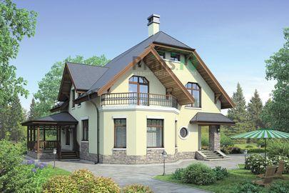Проект дома с мансардой 13x12 метров, общей площадью 153 м2, из кирпича, c террасой, котельной и кухней-столовой