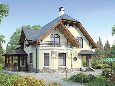 Проект дома с мансардой 13x12 метров, общей площадью 155 м2, из керамических блоков, c террасой, котельной и кухней-столовой