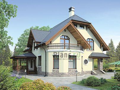 Проект дома с мансардой 13x12 метров, общей площадью 157 м2, из керамических блоков, c террасой, котельной и кухней-столовой